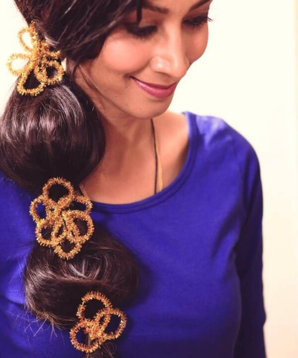 Use Bright Accessories To Decorate Your Hairstyle, tutorial , long hair, wedding, party, blue dress