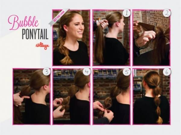 The best Step By Step Bubble Ponytail Hairstyle tutorial , long hair, black dress