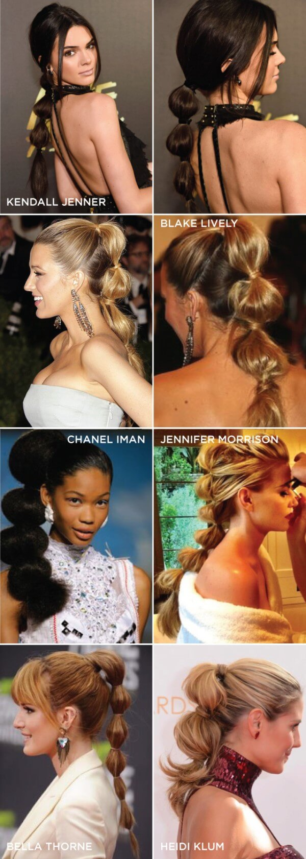 Kendall Jenner, Blake Lively, Chanel Iman, Jennifer Morrison, Heidi Klum & Bella Thorne, celebrity, long hair, met gala, Tried Ponytail Multiple Bands