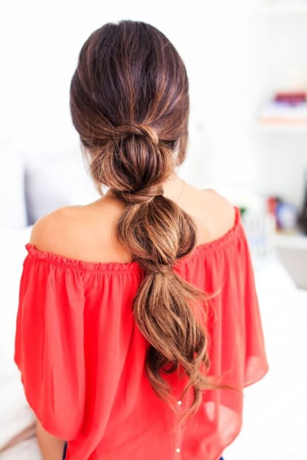 Segmented Ponytail Hairstyle Without Rubber Bands, Red dress, Off shoulder dress, Long dress, Party