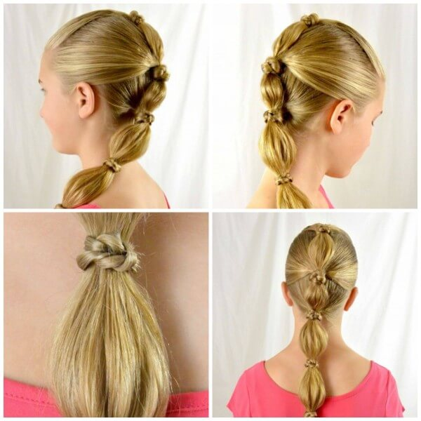 Segmented Ponytail With Nodules, medium hair, Kids hairstyle,party