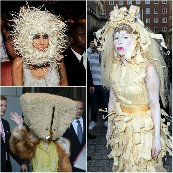 Lady gaga worst outfits, a white look features a skirt with strips of cream fabric & another one with white nest on head