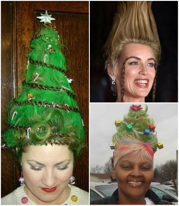 Elastic Christmas tree hairstyle, surely to shock Santa