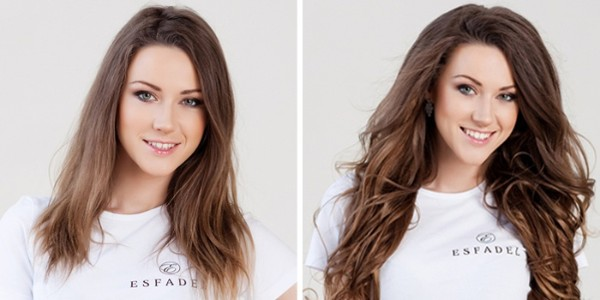 Before and after picture of hair extensions for thin or fine hair