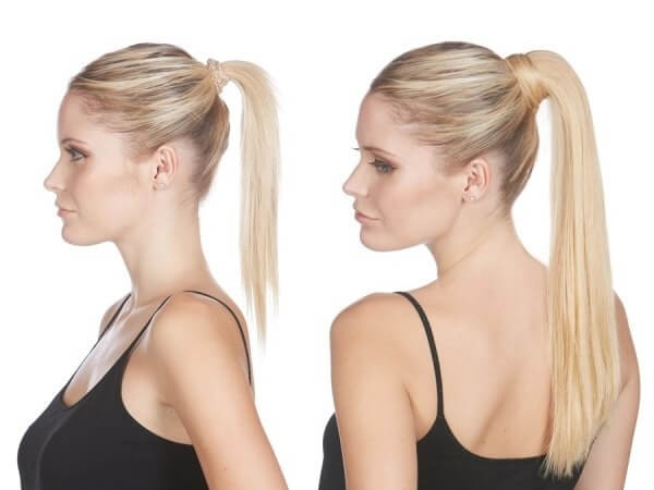 Create a heavy ponytail using hair extensions for thin hair, hairstyle before and after