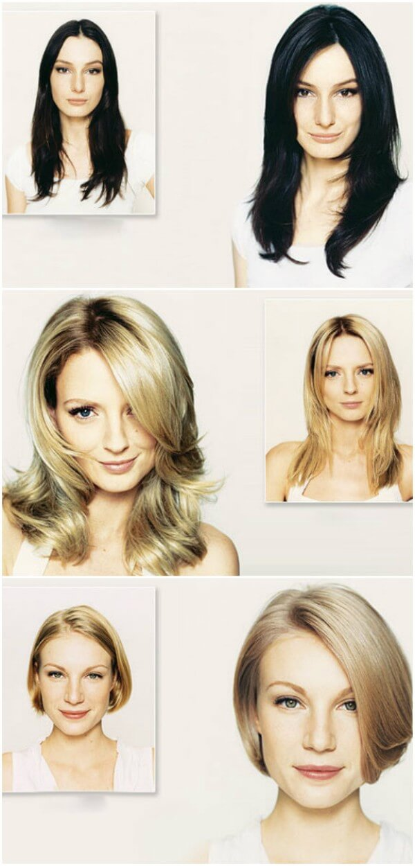 Different haircuts for thin hair having shades like black, medium & light blond hair