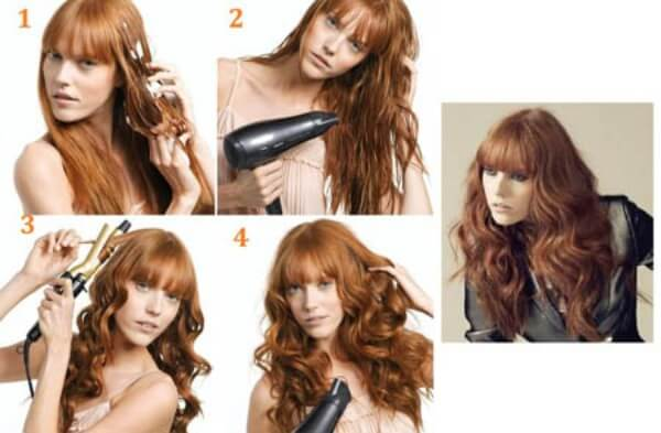 Make easy curls, use blower and curler for thin hair