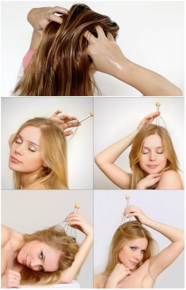 Scalp massage with various tools like head massager and oils for fine or thin hairs