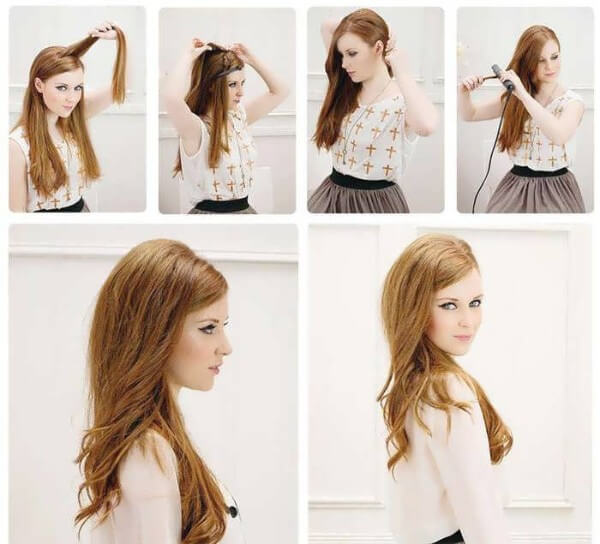 Glam Half-Up Bouffant hairstyle for thin or fine hair