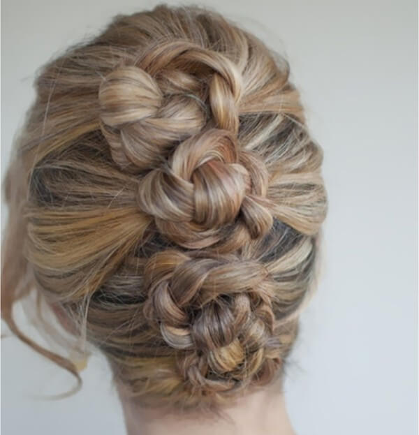 Create Mini Buns Three twisted braids will help you make an incredible hairstyle