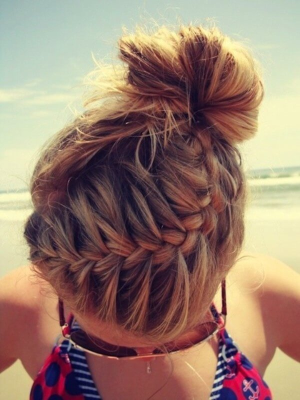 Make Your  Bun More Interesting! Great hairstyle for the beach.