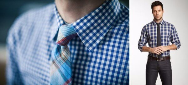 Men's blue checked shirt with tie and trousers for office and casual look