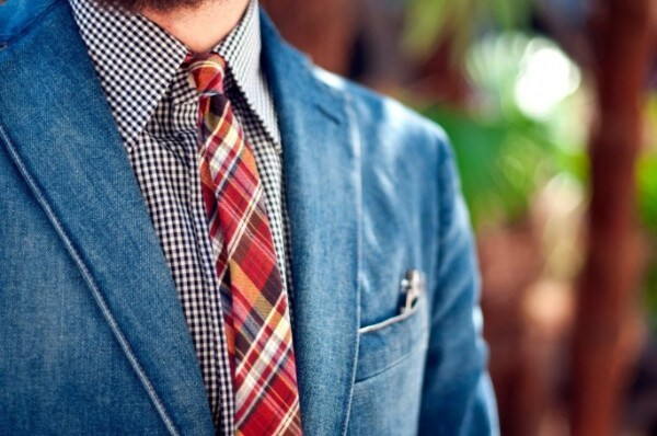 Men's blue checked shirt with tie and coat for office and casual look