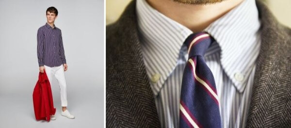 Men's striped shirt combinations with blazer and striped tie for formal or office look
