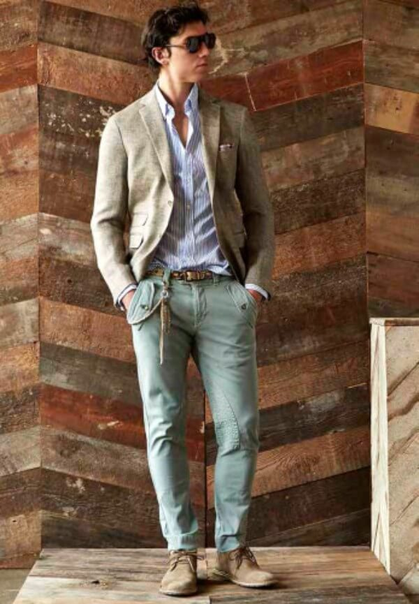 Men's striped shirt with beige coat and trousers with googles for casual and office look