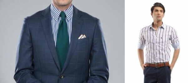 Men's striped shirt, navy blue coat with trousers and green tie for office and formal look