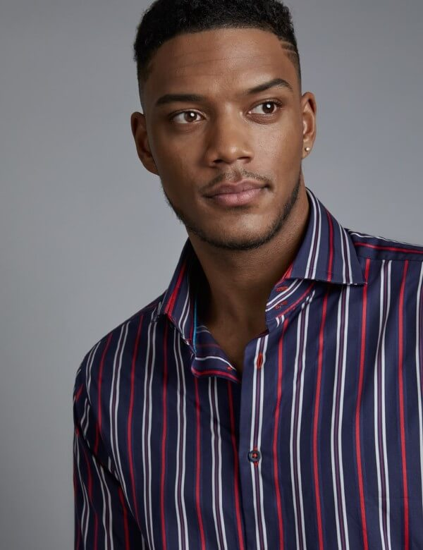 Men's striped shirts with bright prints for casual look