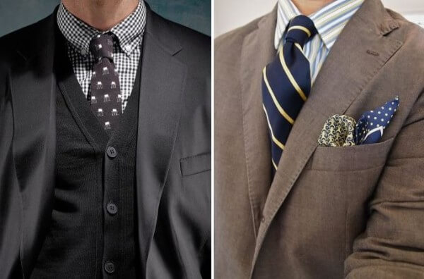 Men's business casual blazer combination with shirts with different patterns