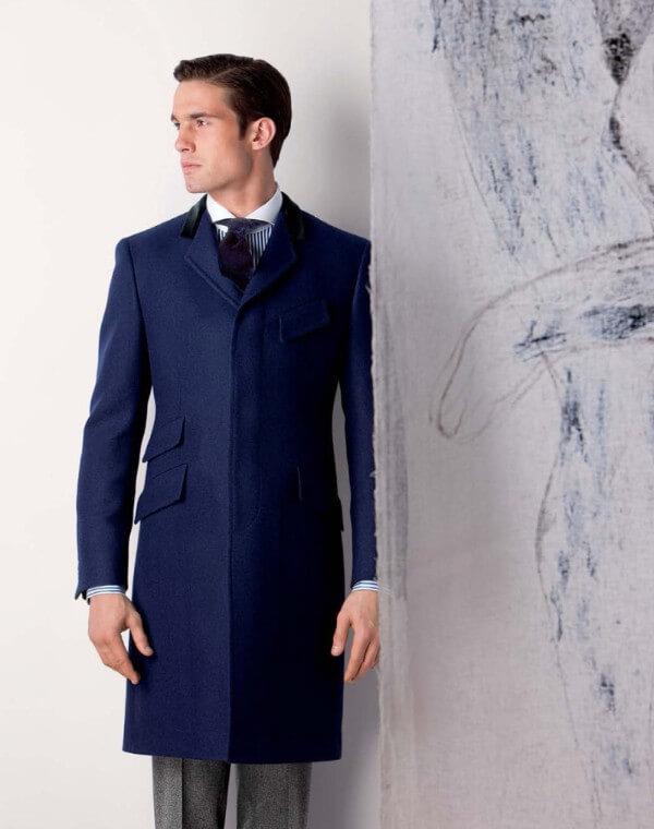 Men's long blue single breasted woolen trench coat for winter season