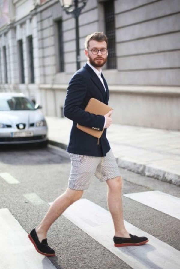 Men's plaid blazers, black shoes with monk strap & beige shorts for casual look