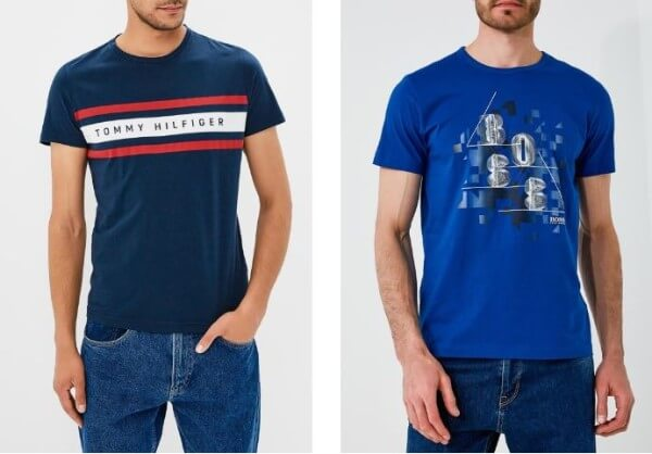 Men's navy blue round neck t-shirt with denim jeans for casual look