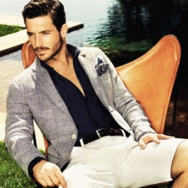 Men's summer white shirt with blue shirt and blazer for casual look