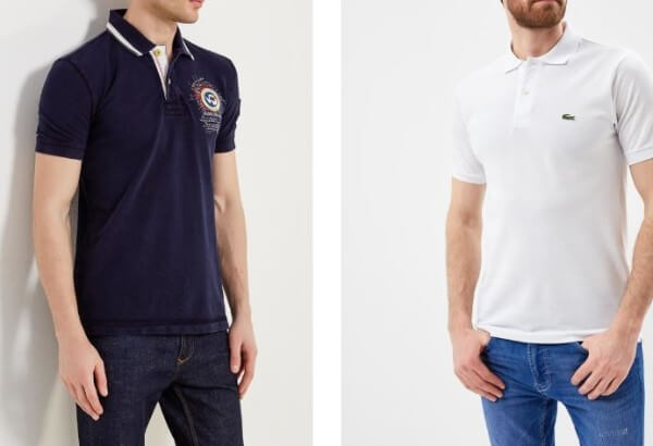 Men's blue and white polo neck t-shirt with jeans for summer casual look
