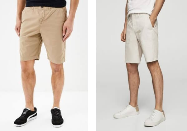 Beige and white shorts for men, black and white shoes for casual look