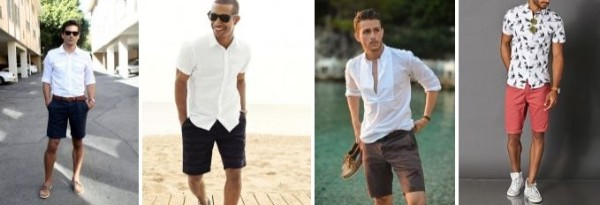 Men's white T-shirts, sandals, spanks with blue and peach shorts for casual look