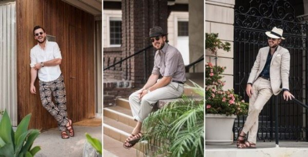 Men's white, beige, black t-shirt and jeans, linen trousers, panama hat for office look