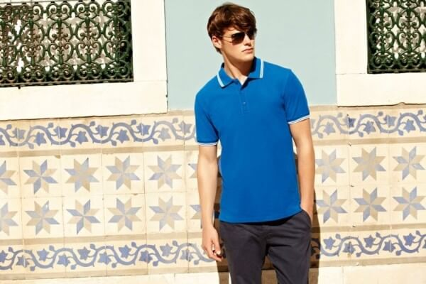 Men blue fancy polo neck T shirt with trousers for casual or daily look