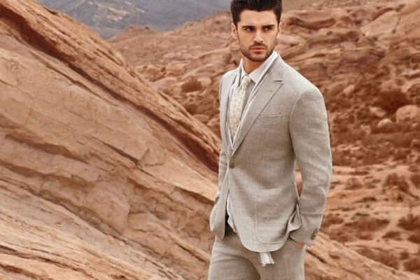 white men's linen suit lightweight classic trousers combined with a summer shirt will replace business suits