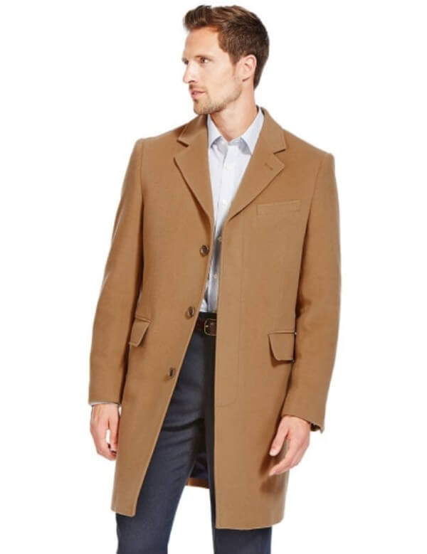 Men's casual brown long wool coat for winter season