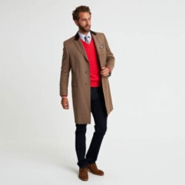 Men's cooper, brown single breasted overcoat for winter season