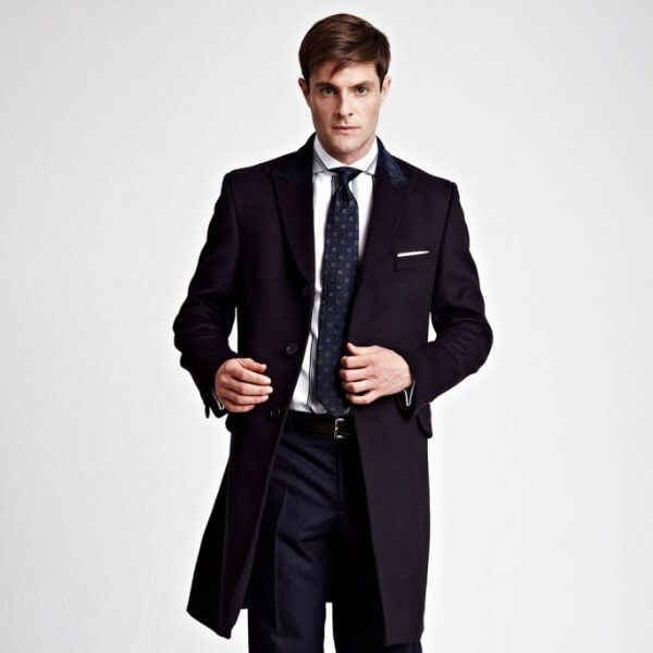 Knee-length dark blue coat, business dress code