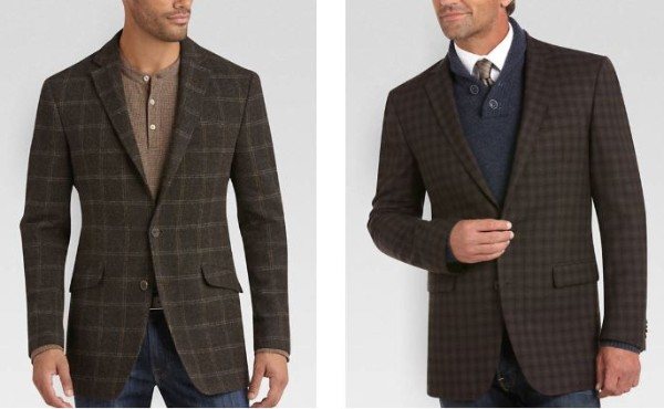 Checked pattern of brown sports blazer with navy denim jeans for casual or office look