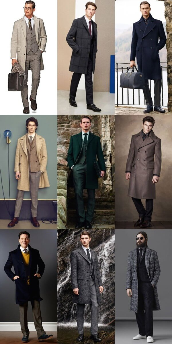 Men's winter overcoat outfit inspiration for office or corporate look