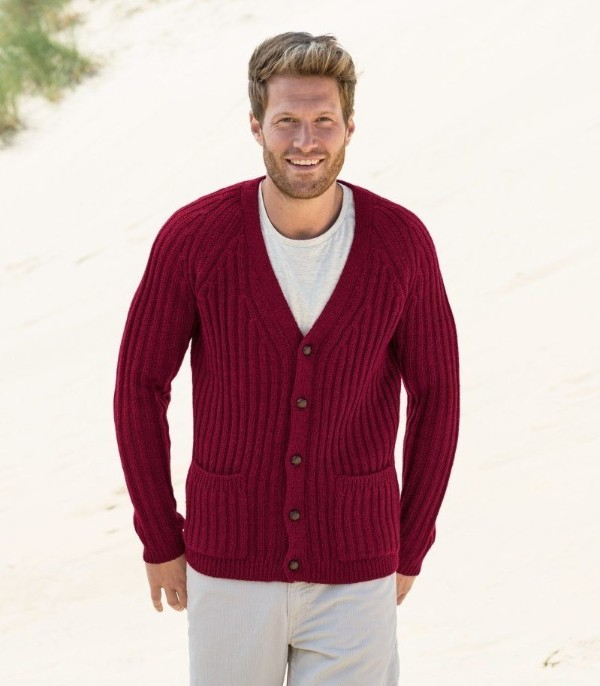 Men's classic knitted burgundy cardigan with white t-shirt and trousers