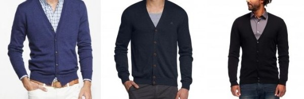 Single breasted fashionable winter cardigan with black and white shirt for men