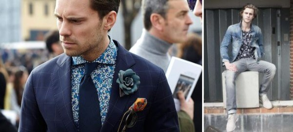 Men's floral printed blue shirt with tie and blue denim jacket and suit for party or casual look