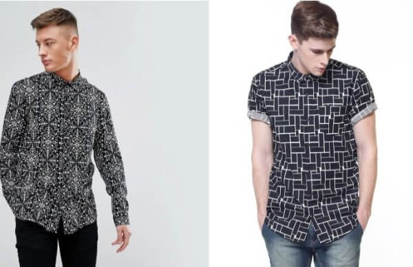 Men's blue and black party print shirt combination with black and blue jeans for casual look