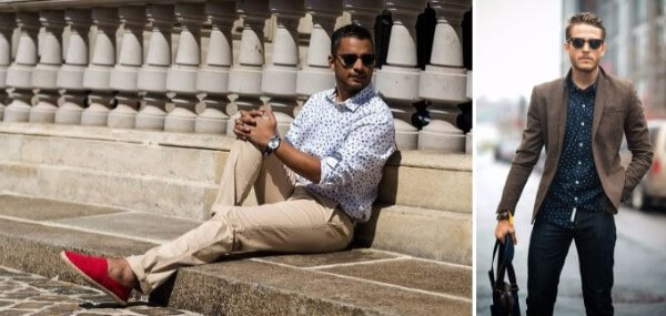 Men's smart casual outfits in blazer with polka dots printed white and navy shirts and jeans