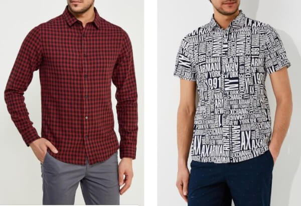 Men's printed, black & red checked shirt with grey and navy trousers for casual look