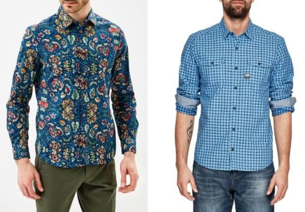 Men's blue checkered and floral printed shirt with brown trousers and blue denim jeans for casual look.
