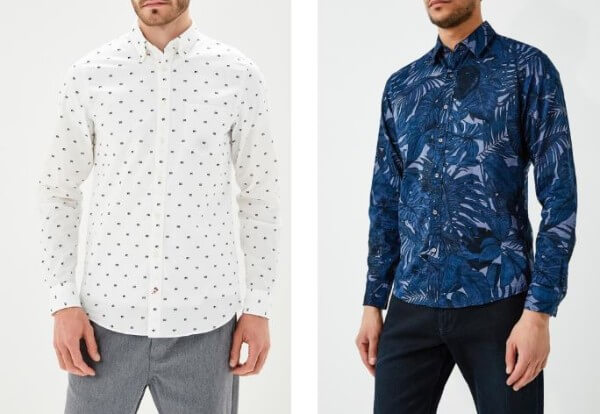 Men blue printed and white polka dots shirt with denim jeans for casual look