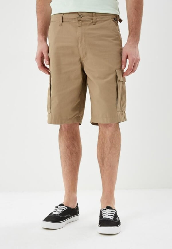 Men's brown bermuda shorts with black shoes for summer or casual look