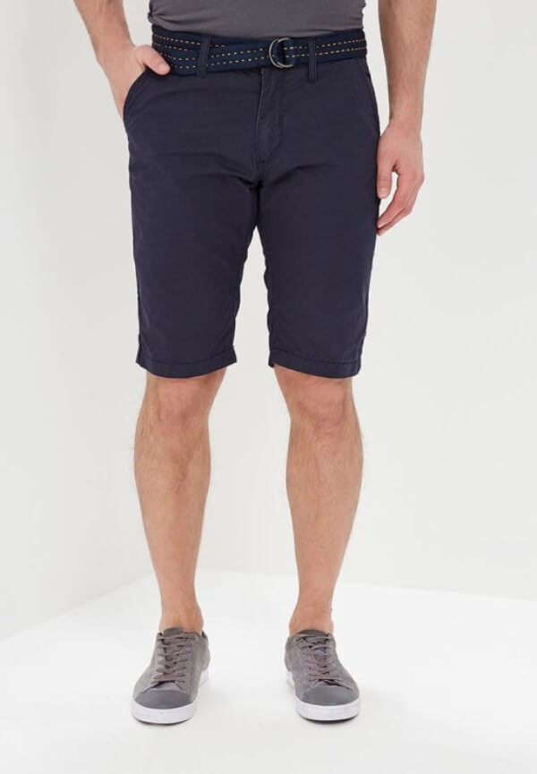 Men's navy blue bermuda shorts with blue shoes for summer or casual look