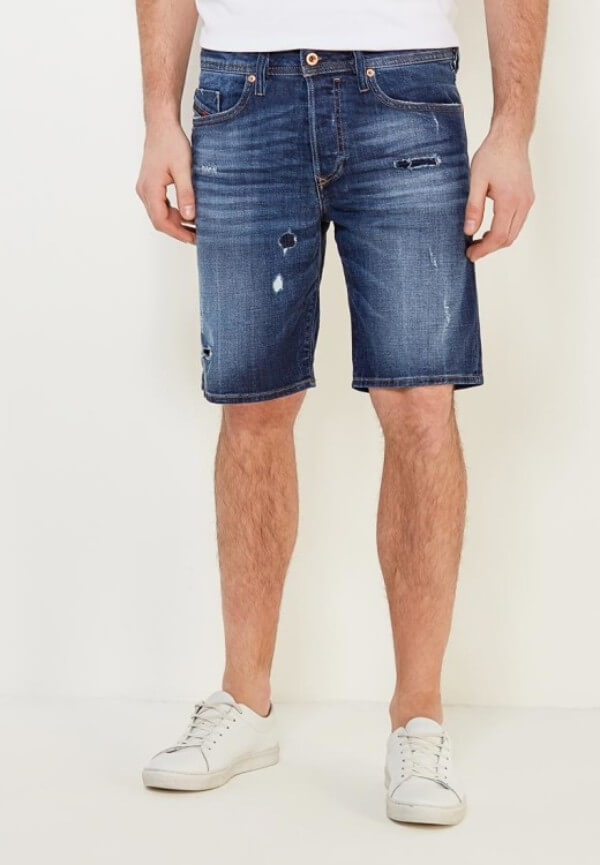 Men's blue denim bermuda shorts with white shoes for summer or casual look