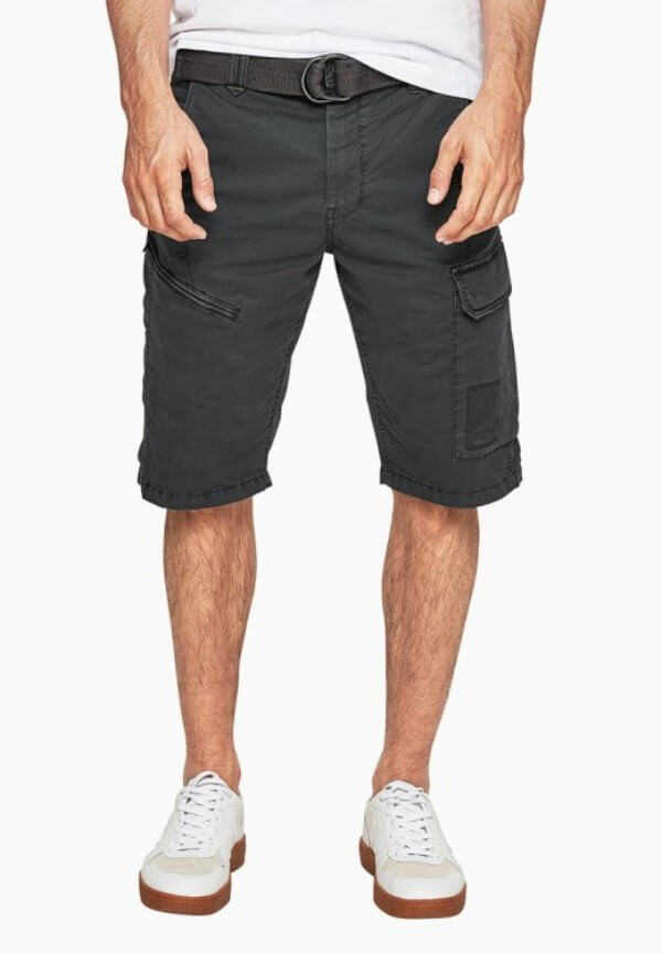 Men's grey bermuda shorts with white shoes for summer or casual look