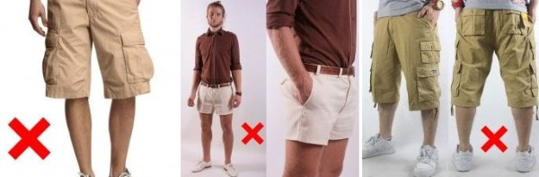Loader or safari shorts with side pockets, shorts with low height & large pockets should be avoided